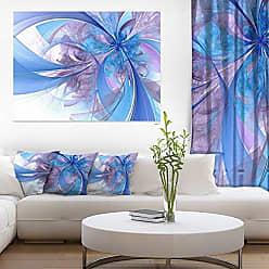 DESIGN ART Designart PT11953-20-12 Light Blue and Purple Fractal Flower Modern Floral Canvas Wall Art, 12 H x 20 W x 1 D 1P, Black
