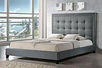 Wholesale Interiors Baxton Studio BBT6377-Grey-Queen Hirst Platform Bed, Queen, Grey