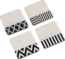 Zodax Marine Marble 4 Long Marble Assorted Coaster, White (Set of 4)