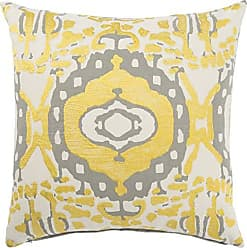 Jaipur Tribal Pattern Yellow/Gray Cotton Polly Fill Pillow, 18-Inch x 18-Inch, Honey Encasa02