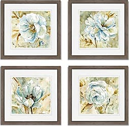 WEXFORD HOME Dahlia Spring Collection Flower Print 4 Panels Set Framed Décor for Home Office Wall Art, 15X15, Burly Wood