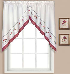 United Curtain Gingham Embroidered Swags, 60 by 38-Inch, Red, Set of 2