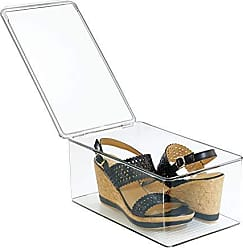 InterDesign Plastic Shoe Box Organizer, Closet Storage Shoe Holder for Organizing Flats, Wedges, Athletic Shoes, Sandals, Clothing, 7.25 x 12.75 x 5, Clear