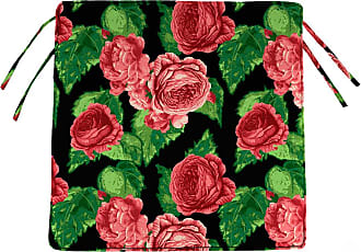 Jordan Manufacturing Company Outdoor Chair Cushions w/Ties, 19 3/4 x 17 1/2, Cabbage Rose