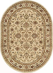 Tayse Raleigh Traditional Floral Beige Oval Area Rug, 5 x 7 Oval