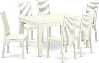 East West Furniture WEIP7-LWH-W Dining Set Large Linen White