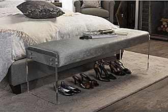Wholesale Interiors Baxton Studio Hildon Modern and Contemporary Microsuede Fabric Upholstered Luxe Bench with Paneled Acrylic Legs, Grey