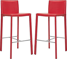 Safavieh Home Collection Jason Mid-Century Red Leather 30-inch Bar Stool (Set of 2)
