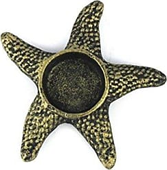 Handcrafted Nautical Decor Hampton Nautical Cast Iron Starfish Decorative Tea Light Holder, 4.5, Antique Gold