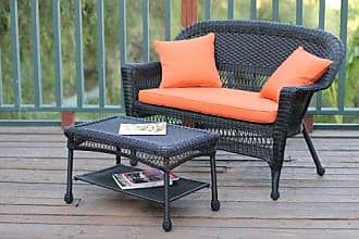 Jeco W00207-LCS016 Wicker Patio Love Seat and Coffee Table Set with Orange Cushion, Black