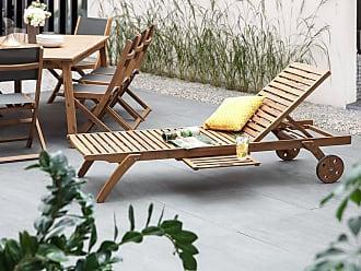 Beliani Gartenliege Holz Rollbar CESANA