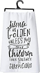 Primitives By Kathy 26951 LOL Cotton Dish Towel, Silence is Golden