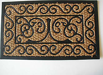 Geo Crafts Rubber Backed Flat Weave Panama Scroll Doormat