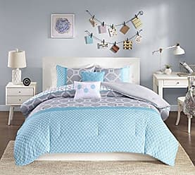 INTELLIGENT DESIGN Clara -All Seasons Comforter Set -5 Piece - Blue - Geometric Pattern - King/California King Size - Includes 1 Comforter, 2 King Shams, 2 Decorative Pillows - Ideal For Guest Room