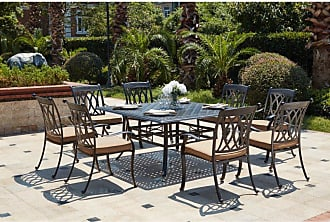 DARLEE Outdoor Darlee Capri 9 Piece Aluminum Square Patio Dining Set - 201660-9PC-88W