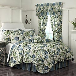 Ellery Homestyles WAVERLY Floral Flourish Quilt Set, 90x104, Porcelain