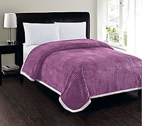Elegant Comfort Best, Softest, Luxury Micro-Sherpa Blanket on Amazon! Heavy Weight Stripe Design Ultra Plush Blanket, King/Cal King, Lavender