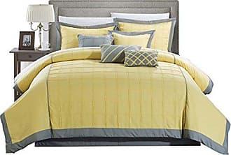 Chic Home 8 Piece Rhodes Pintuck Color Block Comforter Set, Queen, Yellow