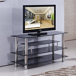 Home Source Industries 41 in. Glass TV Stand - TV4281-4298 BLACK