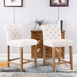 Round Hill Furniture Carlisle Solid Wood Counter Height Bar Stools - Set of 2 Gray - PC511GY