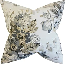 The Pillow Collection Bristol Floral Pewter Down Filled Throw Pillow