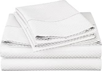 Superior Cotton Blend 800 Thread Count, Deep Pocket, Soft and Wrinkle Resistant, California King Bed Sheet Set, Micro-Checkers, White