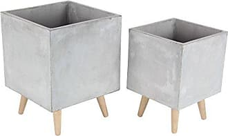 Deco 79 46472 Gray Fiber Clay and Wood Planters (Set of 2), 15 x 18, Lightbrown
