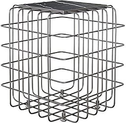 Varaluz Casa 430A01RBBM Grid Collection End Table, Rustic Bronze with Black Marble