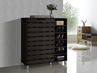 Wholesale Interiors Baxton Studio Shirley Modern & Contemporary Wood 2-Door Shoe Cabinet with Open Shelves, Dark Brown