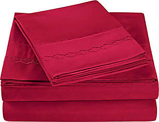 Superior Super Soft Light Weight, 100% Brushed Microfiber, Queen, Wrinkle Resistant, 4-Piece Sheet Set, Burgundy with Cloud Embroidery