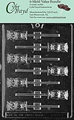 CybrTrayd H034-6BUNDLE Owl Lolly Chocolate Candy Mold with Exclusive Copyrighted Chocolate Molding Instructions