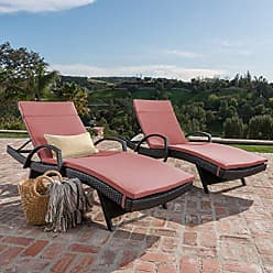 Noble House Christopher Knight Home 296796 Salem Outdoor Wicker Chaise Lounge Chair with Arms with Cushion (Set of 2), Brown with Red
