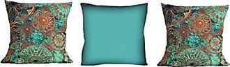 Uniart Kit com 3 Almofadas Mandala Azul 42x42 cm