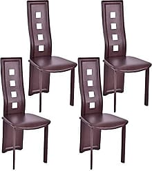 Costway VD-56675HW Dining Chairs, Brown, Brown