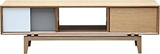 Kardiel Platform Modern Credenza/Media TV Cabinet, Natural Ash Wood