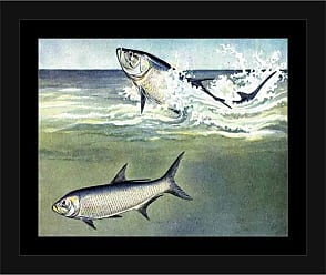 EAZL Two Fish Jump Water Lake Lodge Painting Blue & Green, Framed Canvas Art by Pied Piper Creative