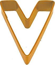 CybrTrayd R&M Durable Cookie Cutter, Monogrammed Letter V, Orange, Bulk Lot of 12