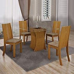Leifer Conjunto Sala de Jantar Mesa Tampo Vidro 4 Cadeiras Vitória Leifer Imbuia Mel/Animale Capuccino