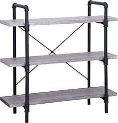 Christopher Knight Home 305318 Riley Faux Wood Industrial Three Tier Shelf, Light Gray Finish, Texture Black