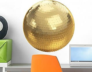 Wallmonkeys Golden Disco Ball on White with Clipping Path Wall Decal Peel and Stick Graphic WM234826 (18 in H x 18 in W)