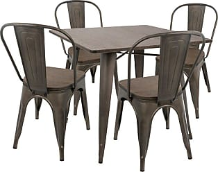 LumiSource Oregon 5 Piece Industrial Dining Set - DS-OR5 AN+E