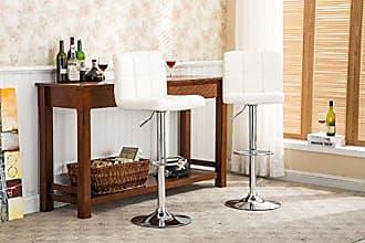 Round Hill Furniture Roundhill Swivel PU Leather Adjustable Hydraulic Bar Stool, White, Set of 2