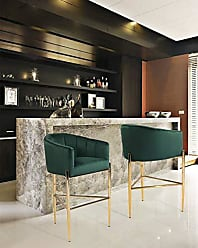 Iconic Home FBS9484-AN Cyrene Bar Stool Chair Velvet Upholstered Shelter Arm Shell Design 3 Legged Gold Tone Solid Metal Base Modern Contemporary, Green
