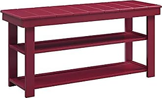Convenience Concepts 203300CR Oxford Utility Mudroom Bench, Cranberry Red