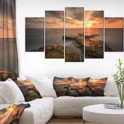 DESIGN ART Designart Sunset at Atlantic Coast Spain-Seascape Photo Canvas Art Print-60x32 5 Piece, 60x32-5 Panels Diamond Shape, Yellow