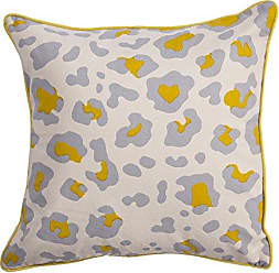 Jaipur Animal Print Pattern Ivory/Yellow Cotton and Polyester Polly Fill Pillow, 22-Inch x 22-Inch, Whitecap Gray Ng-10