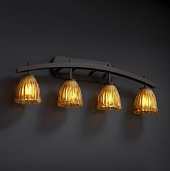 Justice Design Group GLA-8594 - Archway 4 Light Bath Bar - Tulip with Rippled Rim Shade - with Amber Glass - GLA-8594-56-AMBR-DBRZ
