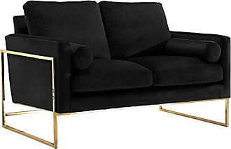 Meridian Furniture 678Black-L Mila Collection Modern | Contemporary Black Velvet Upholstered Loveseat with Stainless Steel Base in a Rich Gold Finish