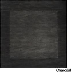 Overstock Hand Loomed Odessa Solid Bordered Tone-On-Tone Wool Area Rug (Charcoal - 99 Square)