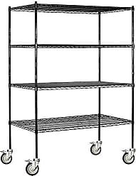 Salsbury Industries Mobile Wire Shelving Unit, 60-Inch Wide by 80-Inch High by 24-Inch Deep, Black